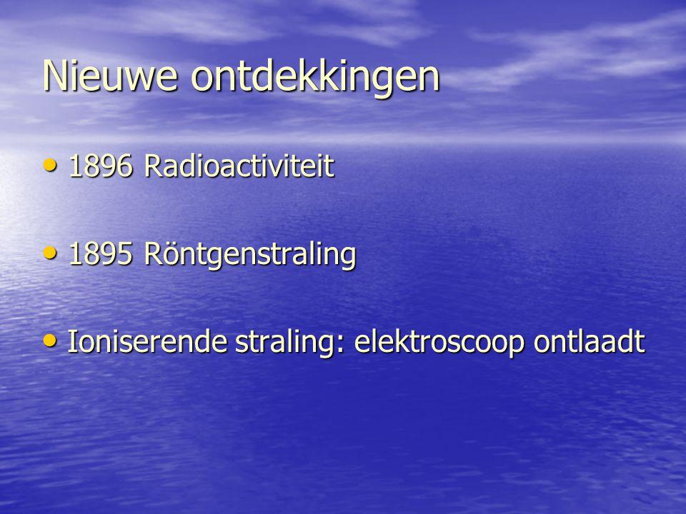 Nieuwe ontdekkingen 1896 Radioactiviteit 1895 Röntgenstraling