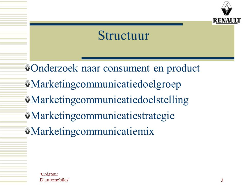 Structuur Onderzoek naar consument en product