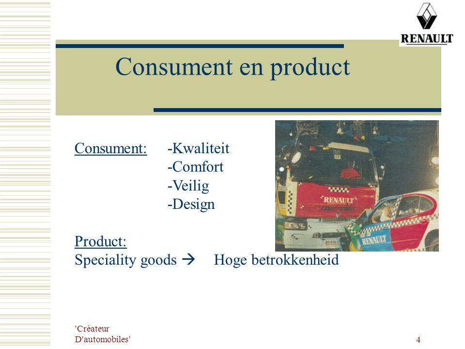 Consument en product Consument: -Kwaliteit -Comfort -Veilig -Design