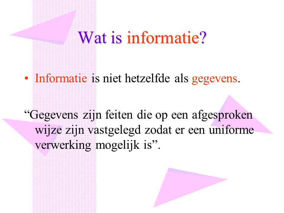 Wat is informatie Informatie is niet hetzelfde als gegevens.