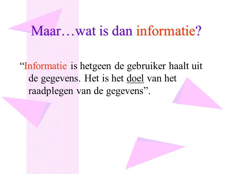 Maar…wat is dan informatie