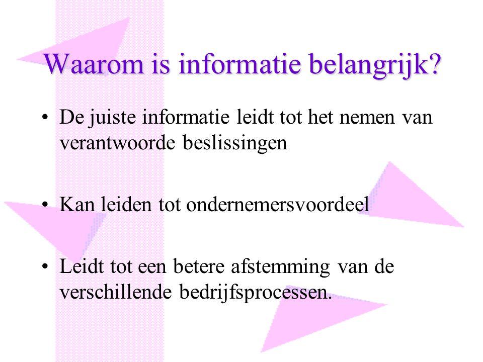 Waarom is informatie belangrijk