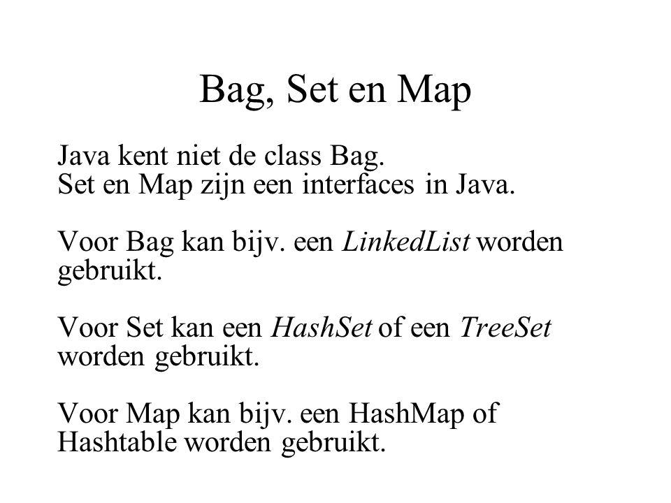 Bag, Set en Map Java kent niet de class Bag.