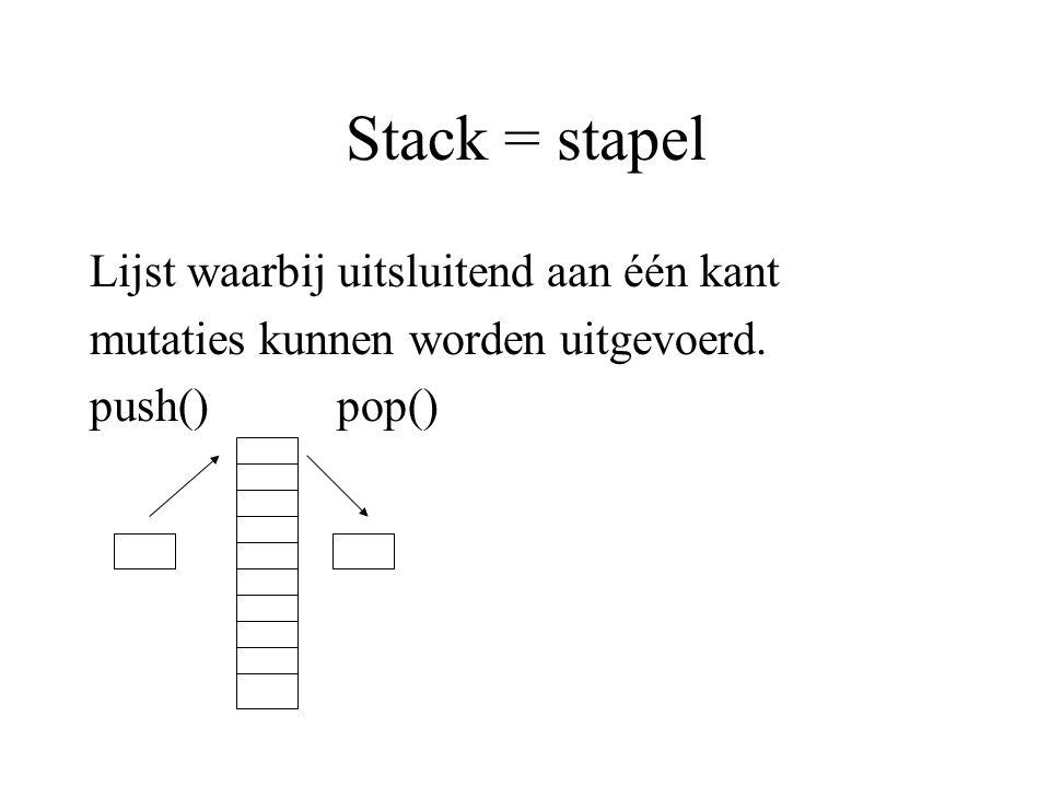 Stack = stapel Lijst waarbij uitsluitend aan één kant