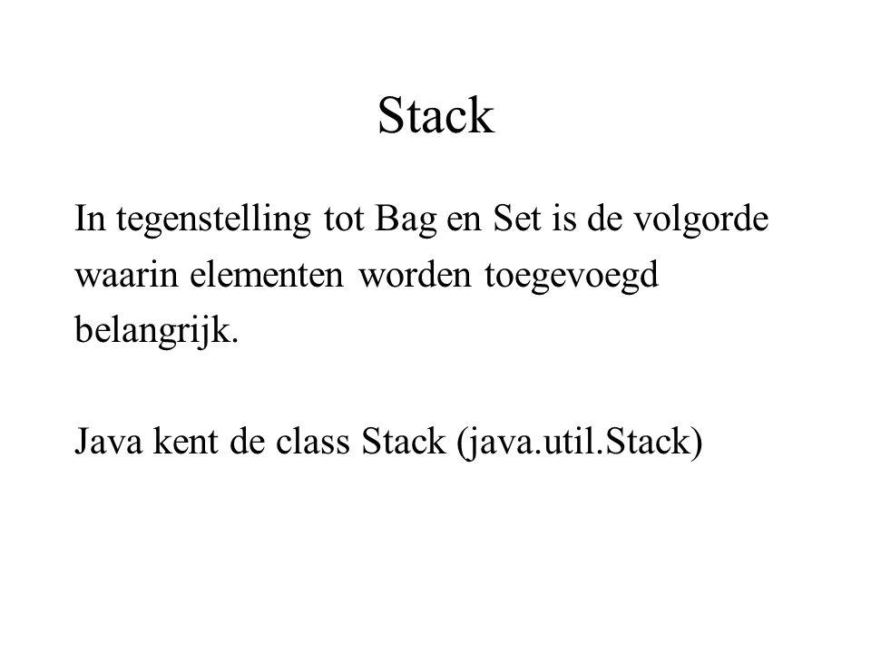 Stack In tegenstelling tot Bag en Set is de volgorde