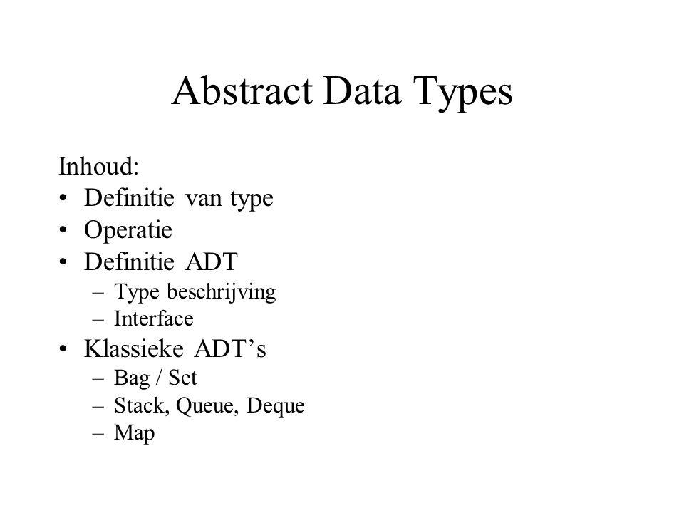 Abstract Data Types Inhoud: Definitie van type Operatie Definitie ADT