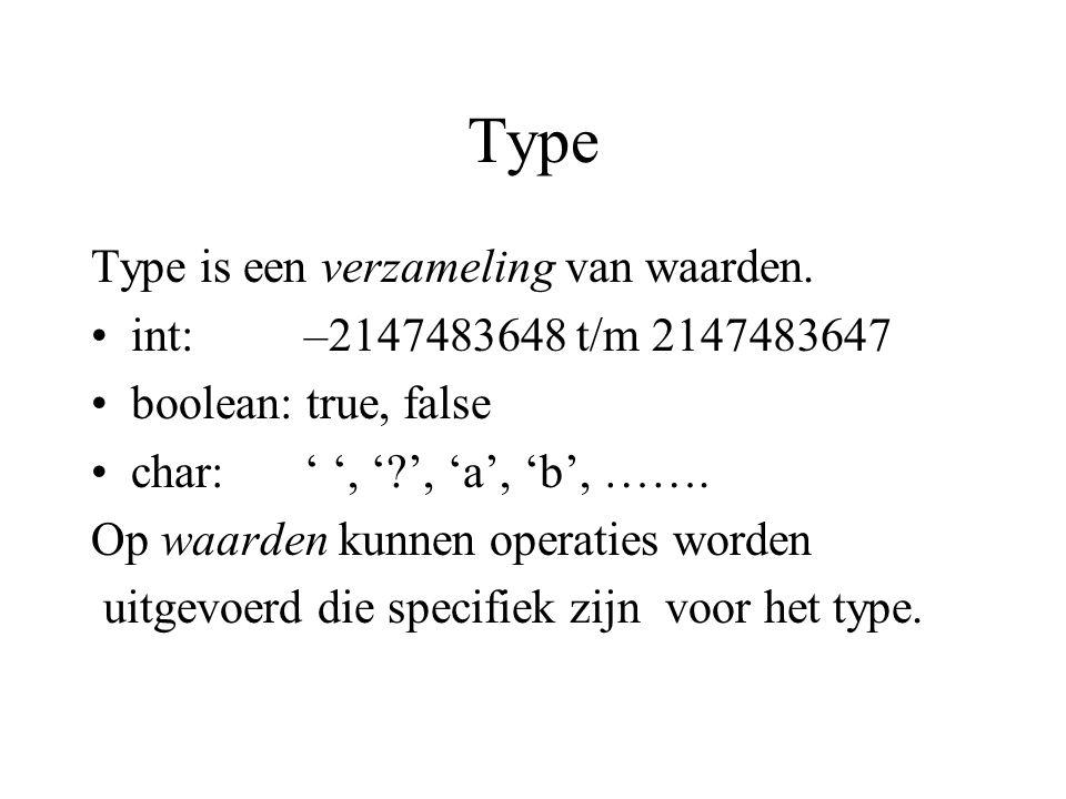 Type Type is een verzameling van waarden.