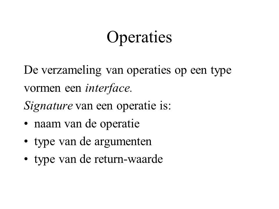 Operaties De verzameling van operaties op een type