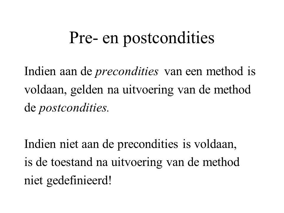 Pre- en postcondities Indien aan de precondities van een method is