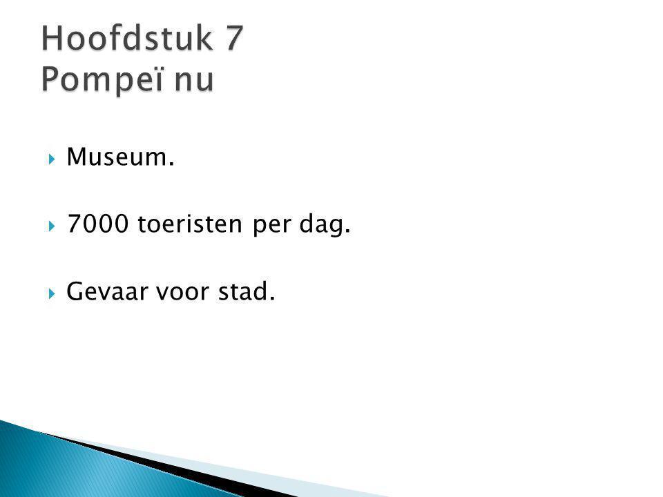 Hoofdstuk 7 Pompeï nu Museum. 7000 toeristen per dag.