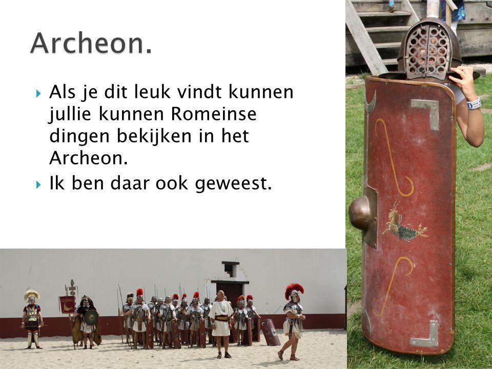 Archeon. Als je dit leuk vindt kunnen jullie kunnen Romeinse dingen bekijken in het Archeon.