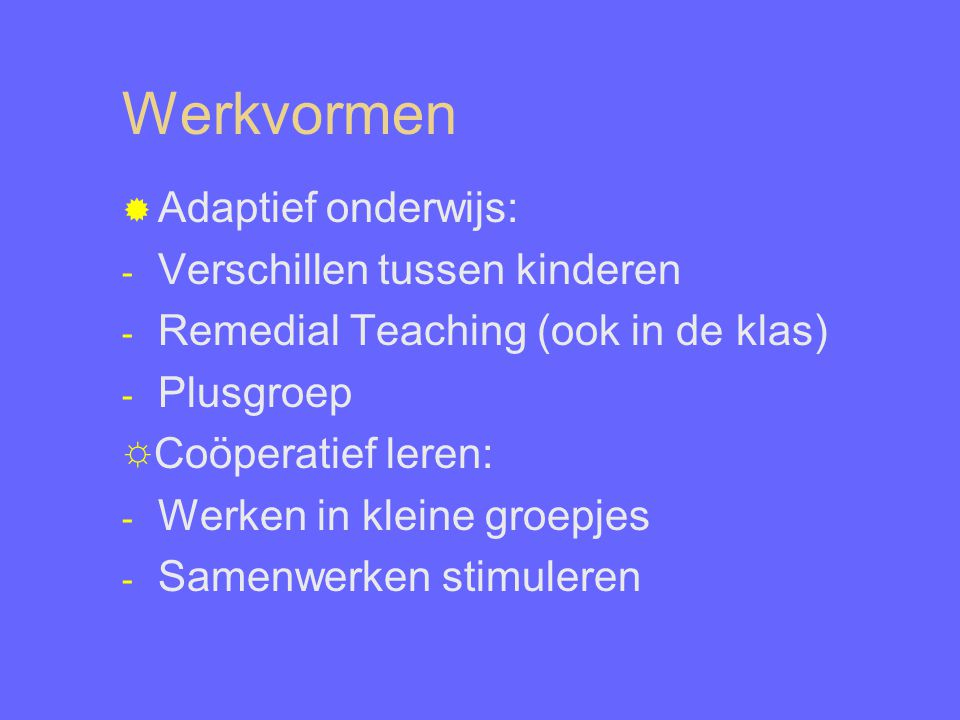 Werkvormen Adaptief onderwijs: Verschillen tussen kinderen