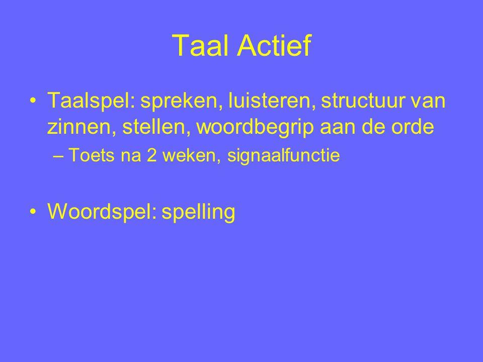 Taal Actief Taalspel: spreken, luisteren, structuur van zinnen, stellen, woordbegrip aan de orde. Toets na 2 weken, signaalfunctie.