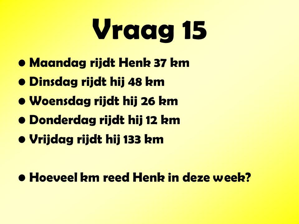 Vraag 15 Maandag rijdt Henk 37 km Dinsdag rijdt hij 48 km