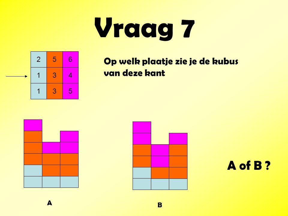 Vraag 7 A of B Op welk plaatje zie je de kubus van deze kant 2 5 6 1