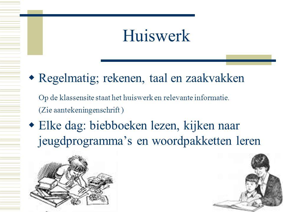Huiswerk Regelmatig; rekenen, taal en zaakvakken