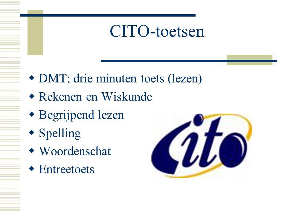 CITO-toetsen DMT; drie minuten toets (lezen) Rekenen en Wiskunde