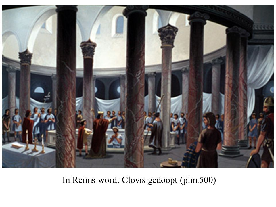 In Reims wordt Clovis gedoopt (plm.500)
