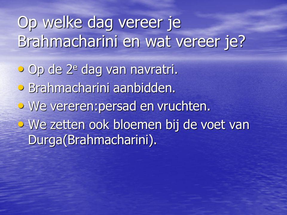 Op welke dag vereer je Brahmacharini en wat vereer je