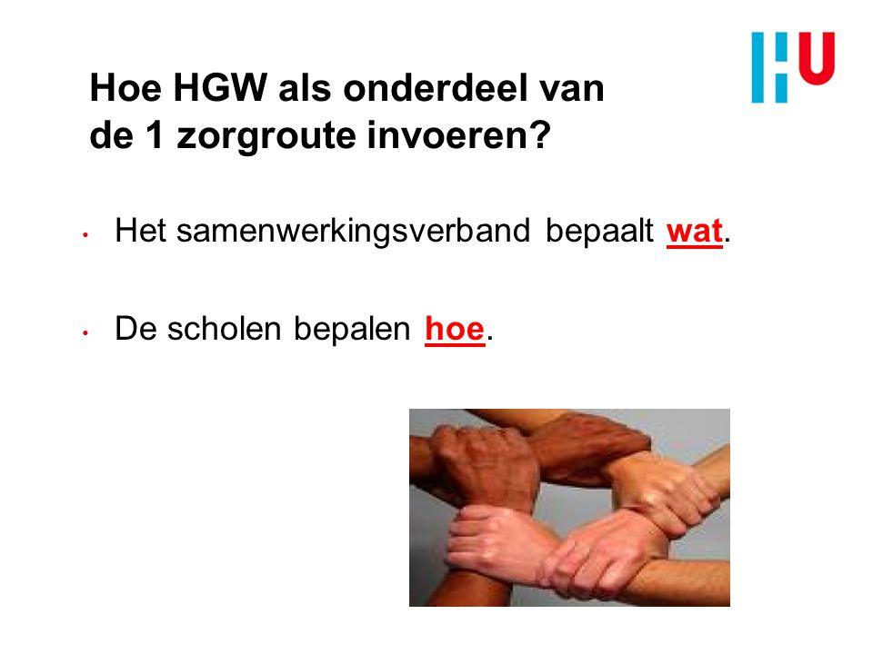 Hoe HGW als onderdeel van de 1 zorgroute invoeren