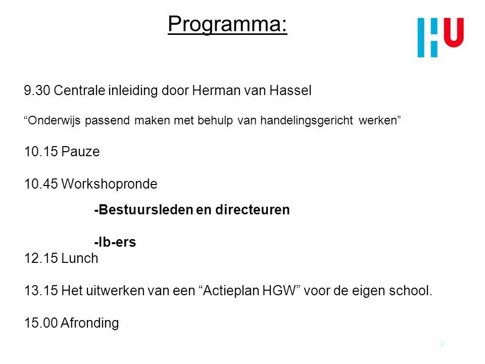 Programma: 9.30 Centrale inleiding door Herman van Hassel 10.15 Pauze