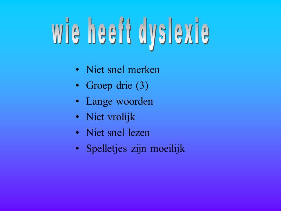 wie heeft dyslexie Niet snel merken Groep drie (3) Lange woorden
