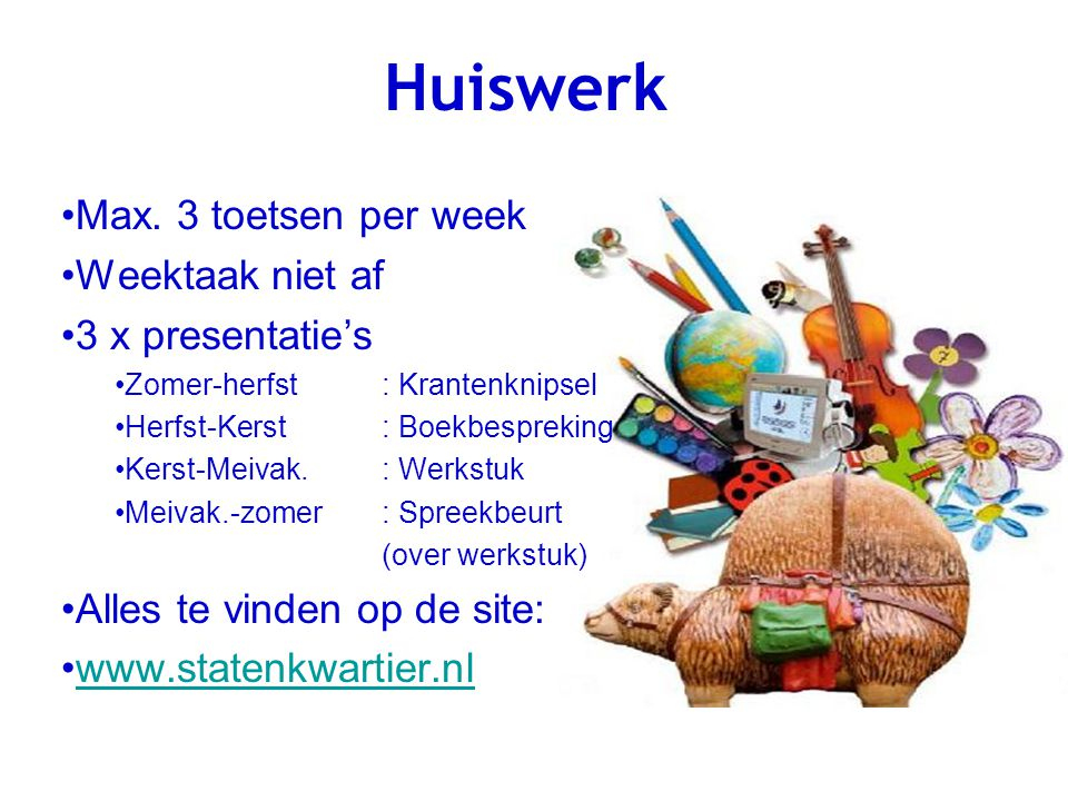 Huiswerk Max. 3 toetsen per week Weektaak niet af 3 x presentatie's