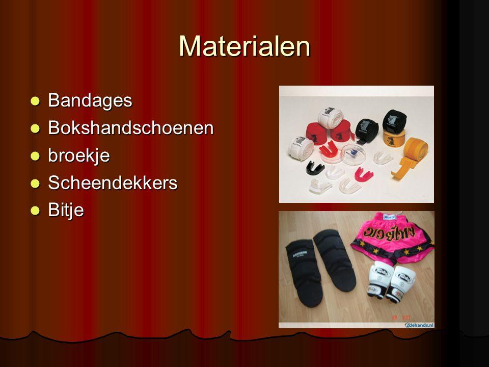 Materialen Bandages Bokshandschoenen broekje Scheendekkers Bitje