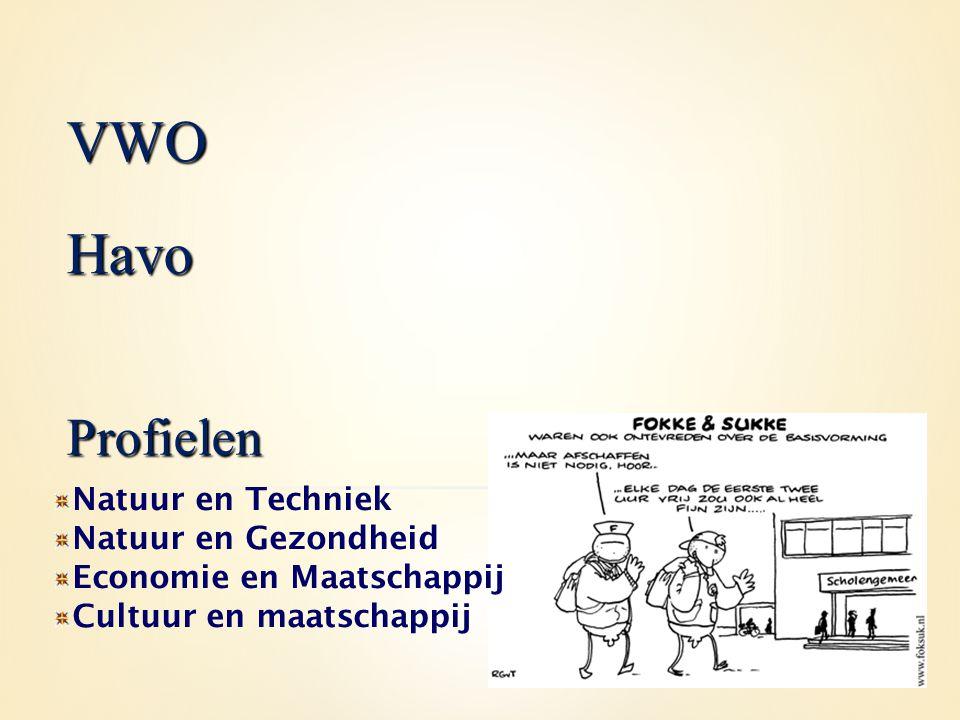 VWO Havo Profielen Natuur en Techniek Natuur en Gezondheid
