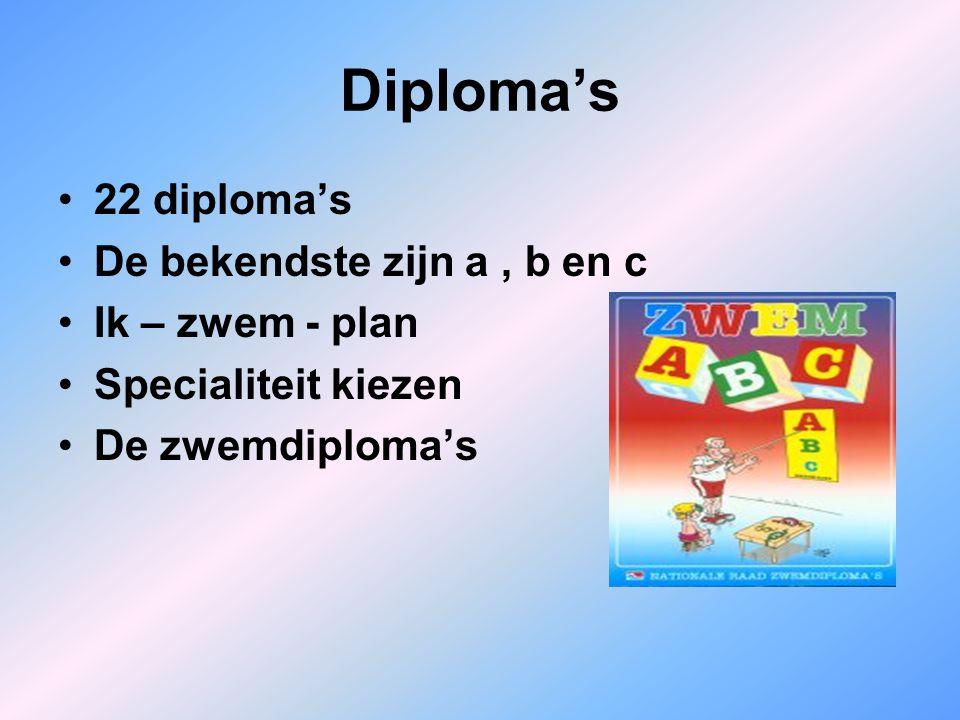 Diploma's 22 diploma's De bekendste zijn a , b en c Ik – zwem - plan