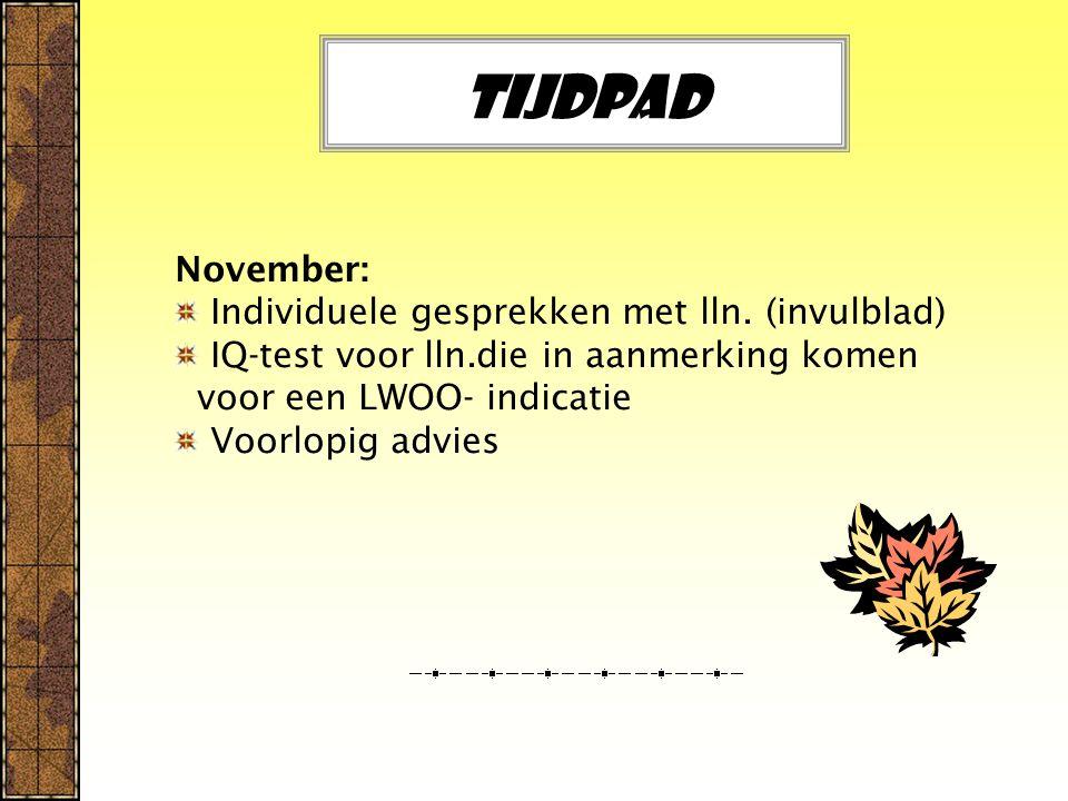 Tijdpad November: Individuele gesprekken met lln. (invulblad)