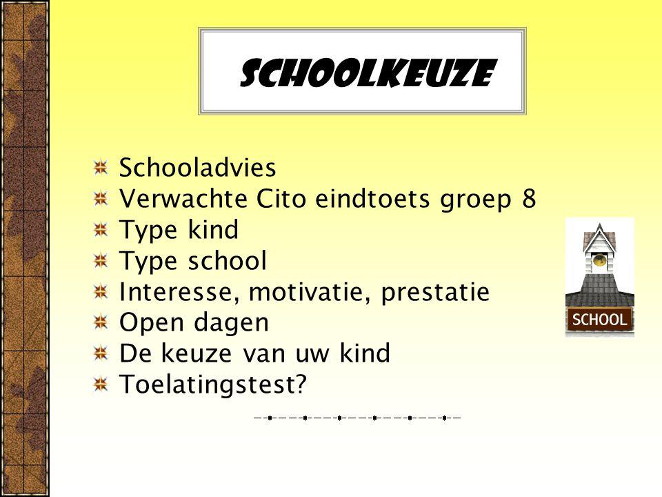 Schoolkeuze Schooladvies Verwachte Cito eindtoets groep 8 Type kind