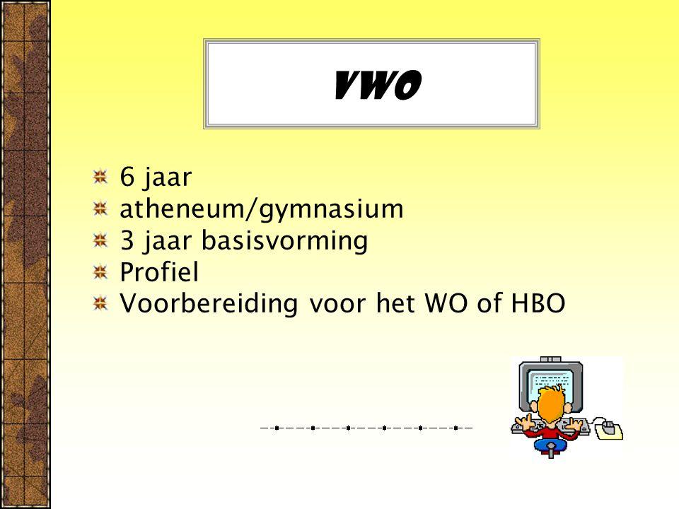 Vwo 6 jaar atheneum/gymnasium 3 jaar basisvorming Profiel