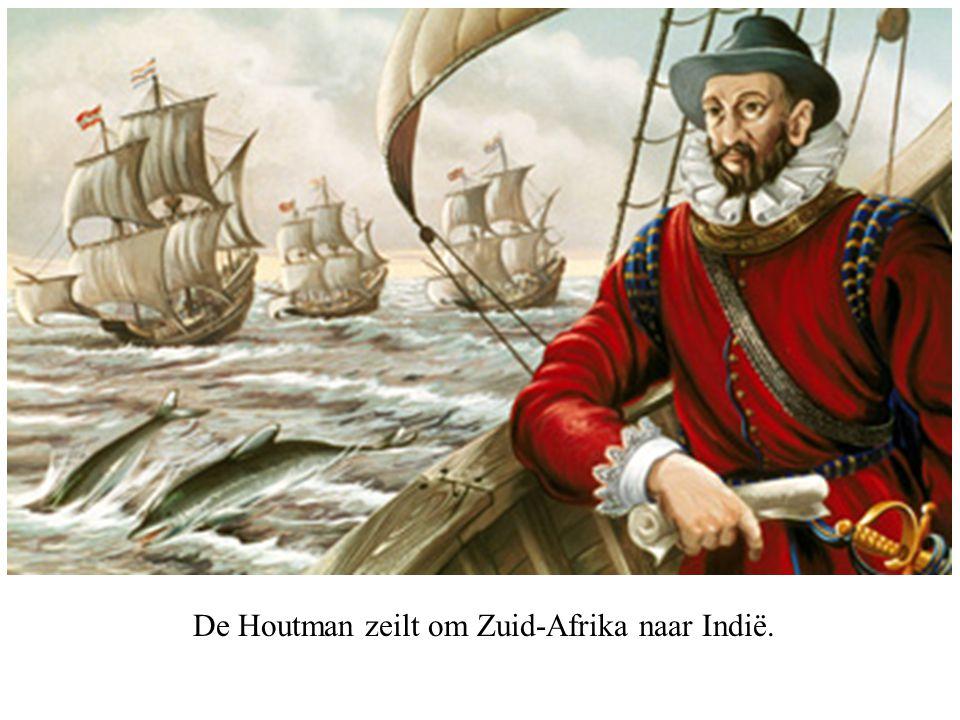 De Houtman zeilt om Zuid-Afrika naar Indië.