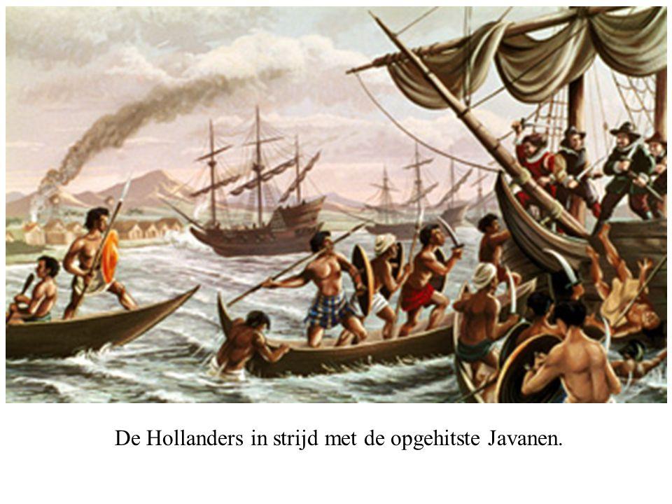 De Hollanders in strijd met de opgehitste Javanen.