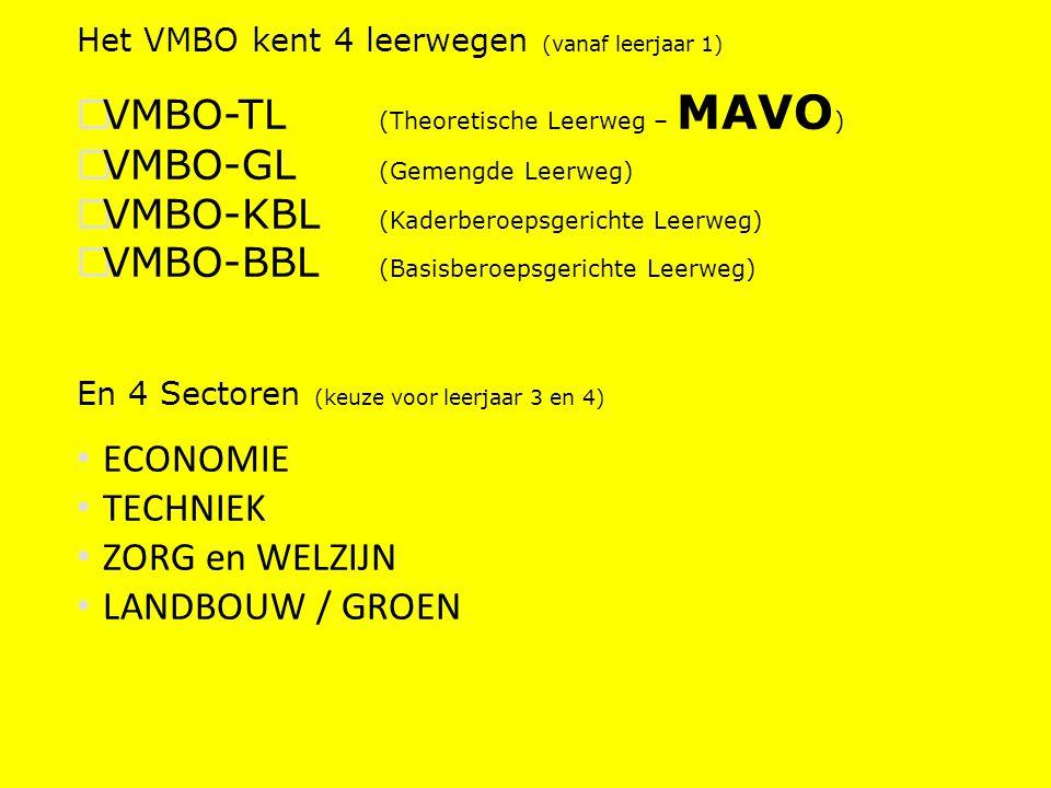 VMBO-TL (Theoretische Leerweg – MAVO) VMBO-GL (Gemengde Leerweg)