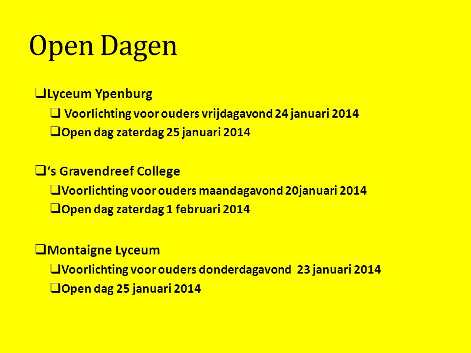 Open Dagen Lyceum Ypenburg 's Gravendreef College Montaigne Lyceum