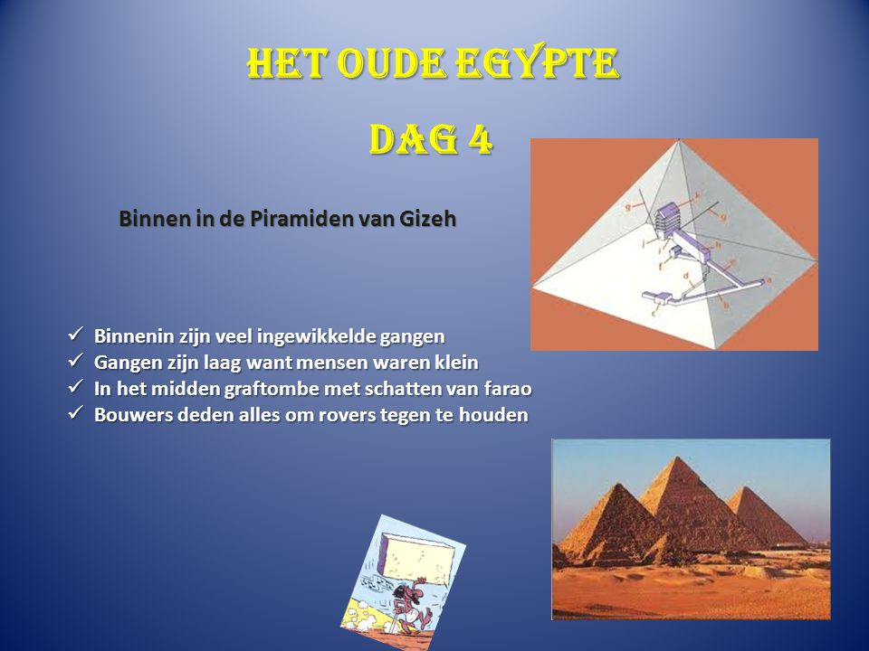 Het oude Egypte Dag 4 Binnen in de Piramiden van Gizeh