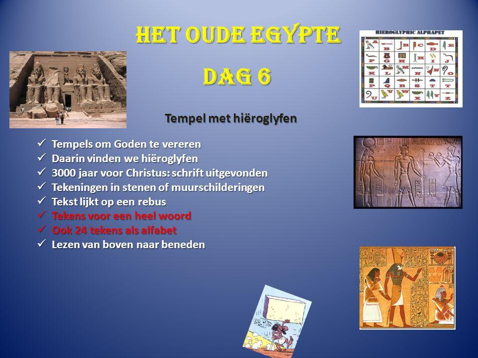 Het oude Egypte Dag 6 Tempel met hiëroglyfen