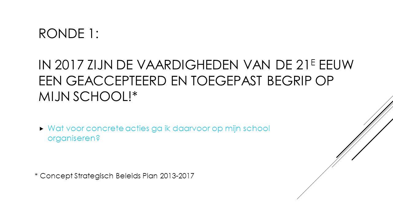 ronde 1: In 2017 zijn de vaardigheden van de 21e eeuw een geaccepteerd en toegepast begrip op mijn school!*