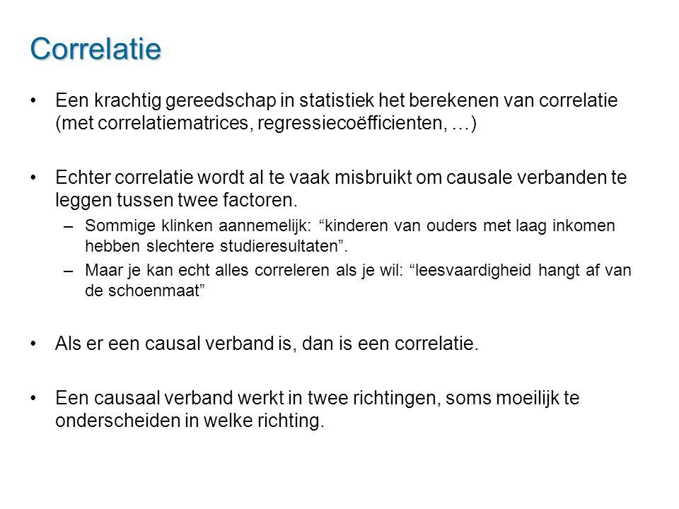 Correlatie Een krachtig gereedschap in statistiek het berekenen van correlatie (met correlatiematrices, regressiecoëfficienten, …)