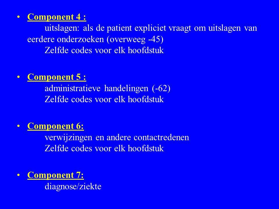 Component 4 : uitslagen: als de patient expliciet vraagt om uitslagen van eerdere onderzoeken (overweeg -45) Zelfde codes voor elk hoofdstuk