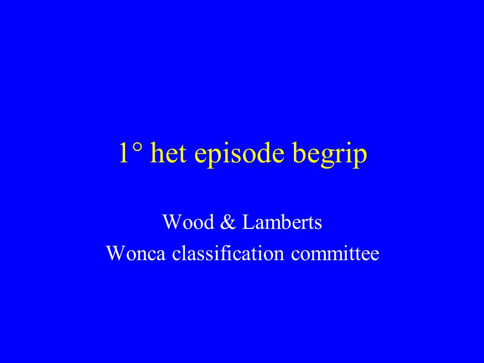 Wood & Lamberts Wonca classification committee
