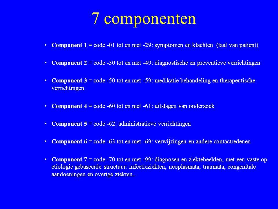 7 componenten Component 1 = code -01 tot en met -29: symptomen en klachten (taal van patient)