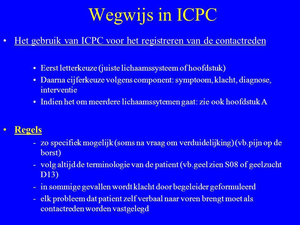 Wegwijs in ICPC Het gebruik van ICPC voor het registreren van de contactreden. Eerst letterkeuze (juiste lichaamssysteem of hoofdstuk)
