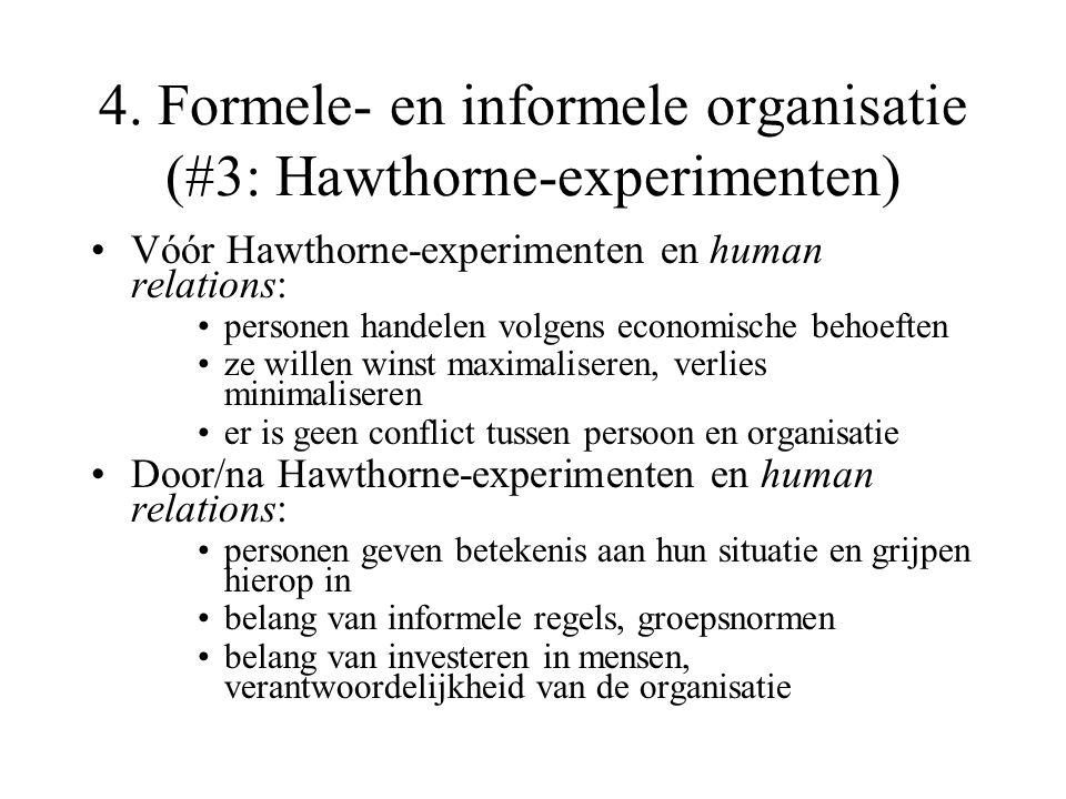 4. Formele- en informele organisatie (#3: Hawthorne-experimenten)