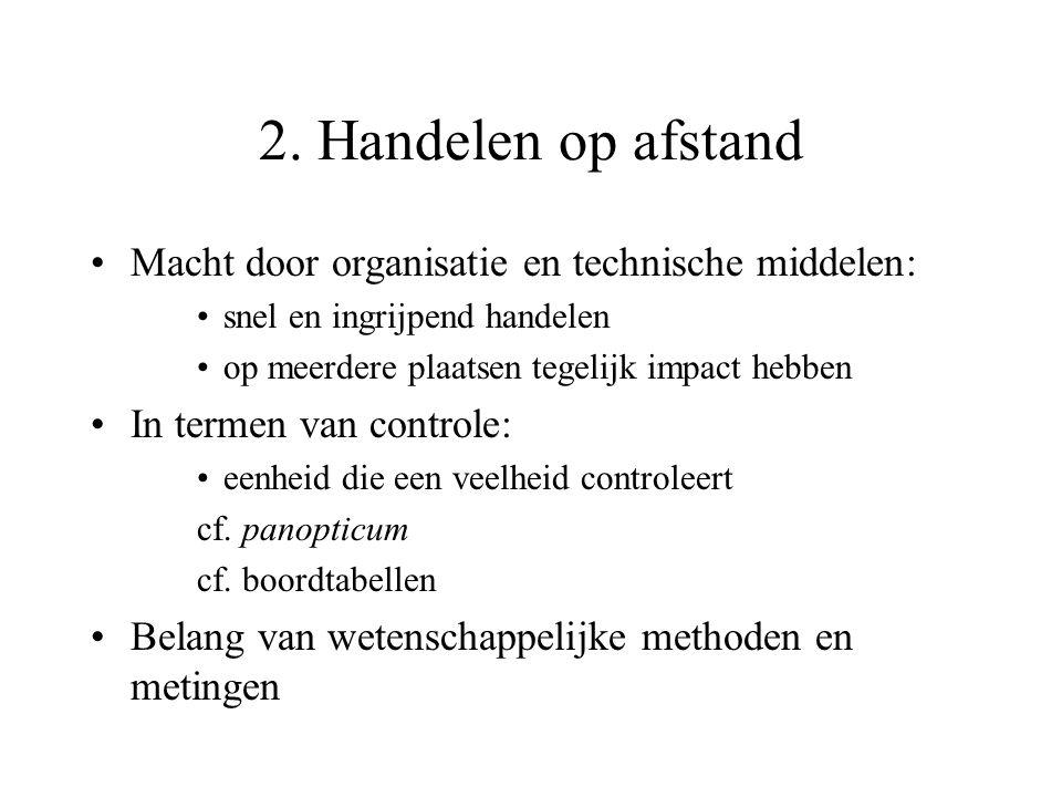 2. Handelen op afstand Macht door organisatie en technische middelen: