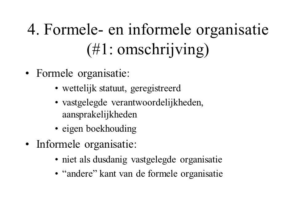 4. Formele- en informele organisatie (#1: omschrijving)