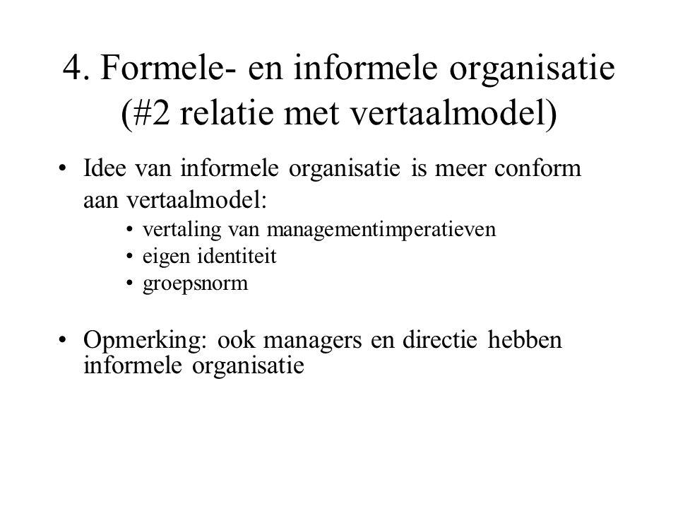 4. Formele- en informele organisatie (#2 relatie met vertaalmodel)