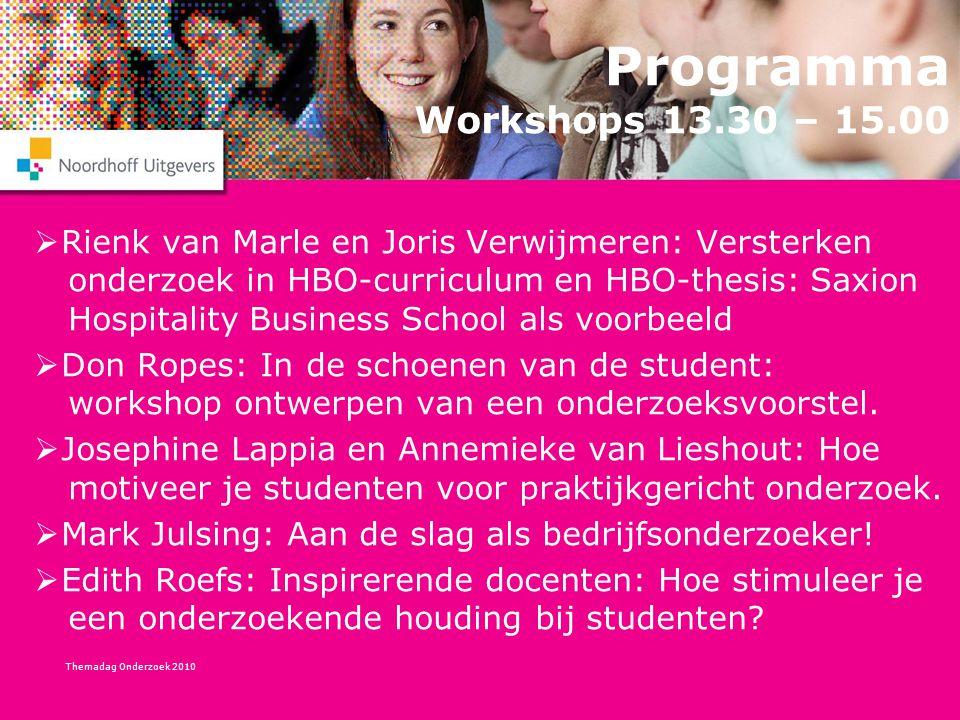 Programma Workshops 13.30 – 15.00